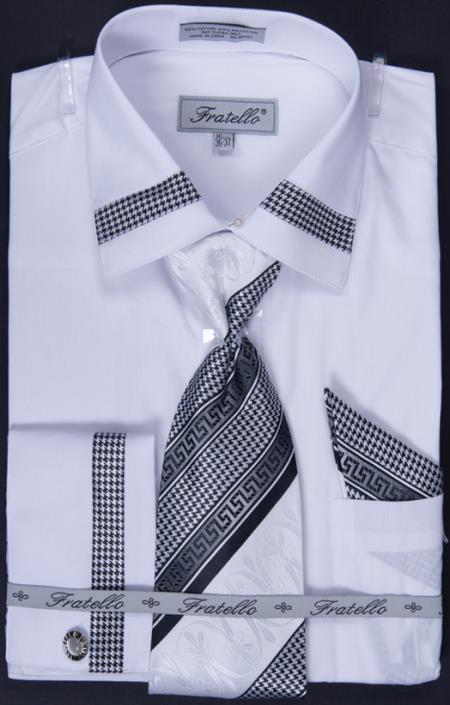 Men's French Cuff Dress Shirt, Tie, Hanky and Cuff Links - Patched White P89C