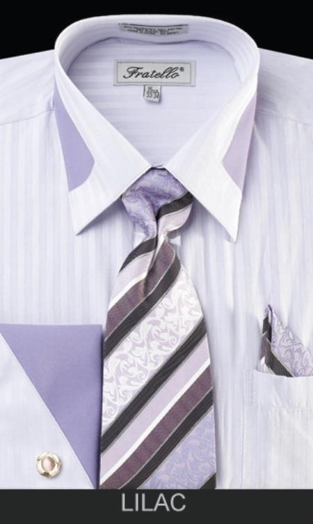 MensUSA Mens French Cuff Dress Shirt Set Collar Detail Lilac at Sears.com