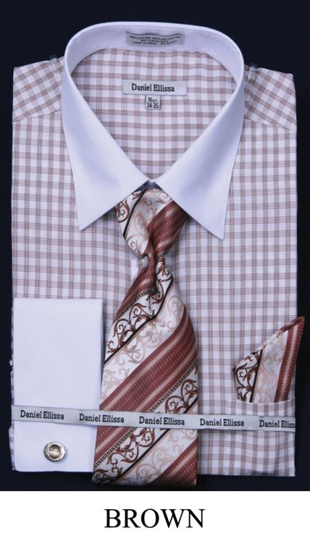SKU#5DW5 Mens French Cuff Dress Shirt - Two Tone Stripe Brown $65