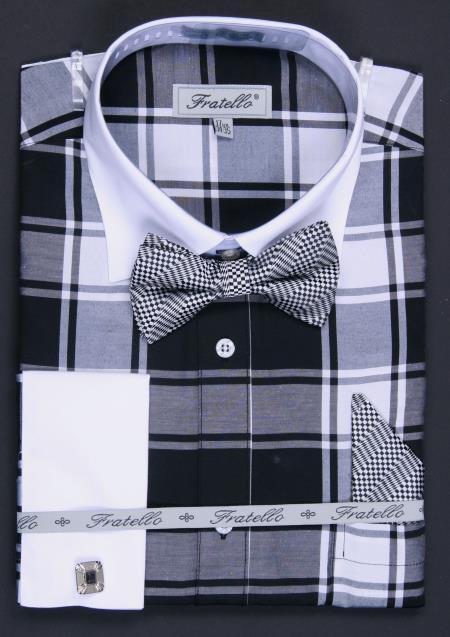 SKU#AP3L Mens French Cuff Black Checker Dress Shirt Set Plaid ~ Windowpane $65