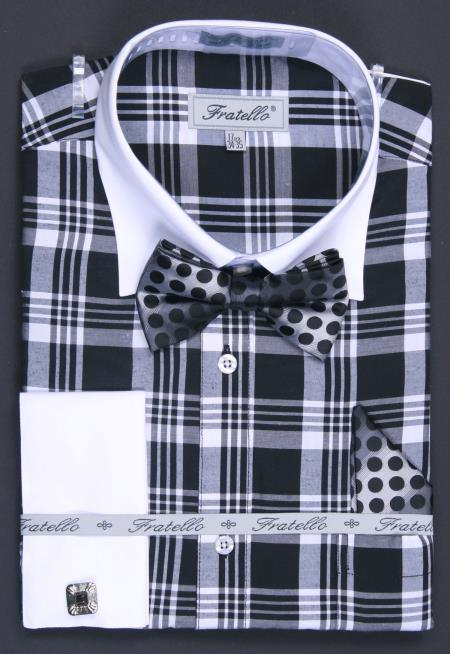 MensUSA.com Mens Black Checker French Cuff Dress Shirt Set(Exchange only policy) at Sears.com
