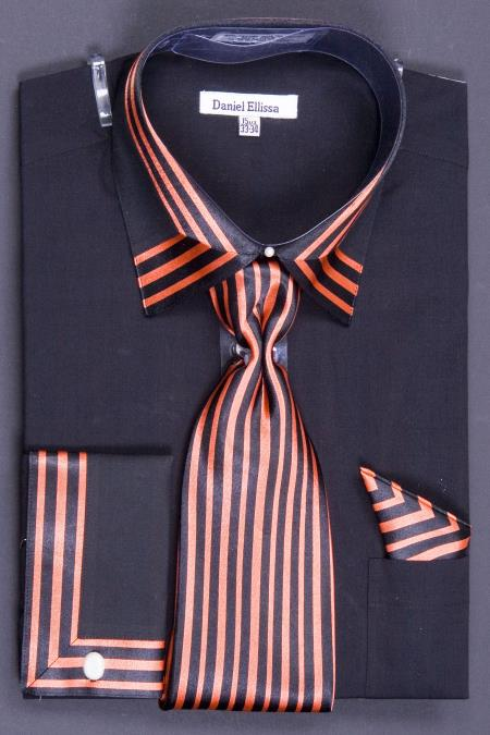 Men S French Cuff Dress Shirt Set Bold Stripes Black