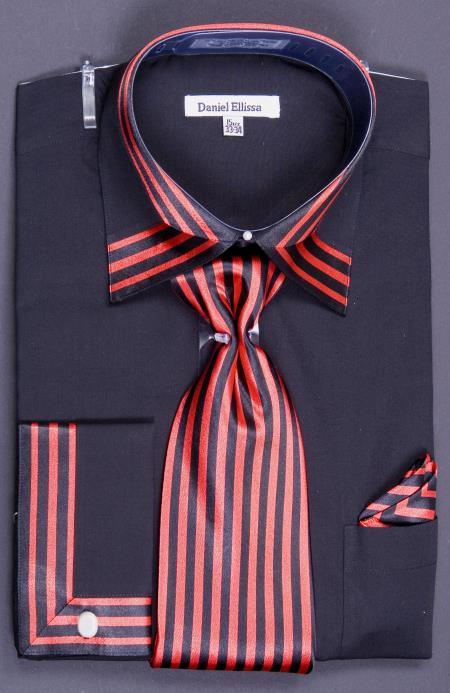 SKU#3XP Mens French Cuff Dress Shirt Set - Bold Stripes Black/Red $65
