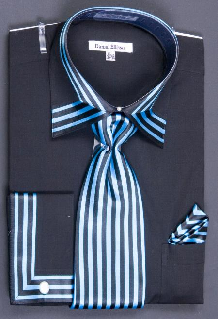 MensUSA.com Mens French Cuff Dress Shirt Set Bold Stripes Black Turquoise(Exchange only policy) at Sears.com