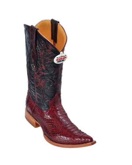 SKU#5FF2 Los Altos Burgundy ~ Maroon ~ Wine Color Python Cowboy Boots $277