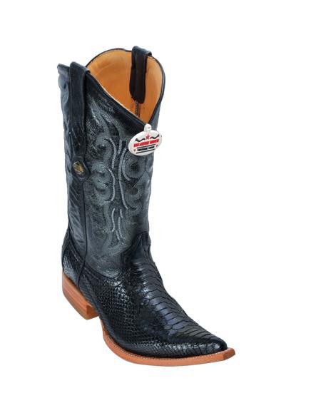 SKU#9QX Los Altos Black Python Cowboy Boots $277