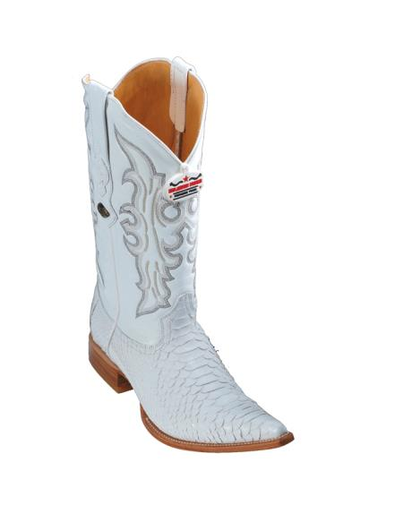 SKU#8PA Los Altos White Python Cowboy Boots $277