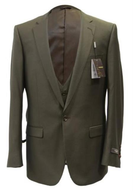 SKU#JD25 Mens Vested 1 Button Slim Fit Suit Taupe $139