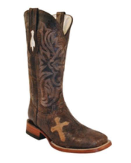 MensUSA.com Ferrini Womens Cowhide Cross Vamp S Toe Boot Brown(Exchange only policy) at Sears.com