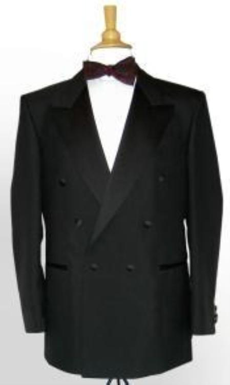 SKU# RQW234 6 Button Peak Lapel Super 150s Wool Double-Breasted 6 on 1 Button Closer Style Jacket