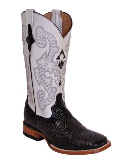 MensUSA Ferrini Womens Print Baby Gator S Toe Boot Black Pearl at Sears.com