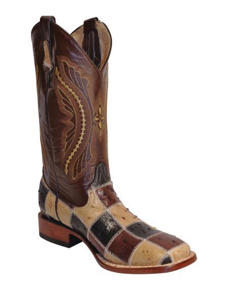 MensUSA Ferrini Mens Print Patchwork Ostrich S Toe Boot Chocolate Multi at Sears.com
