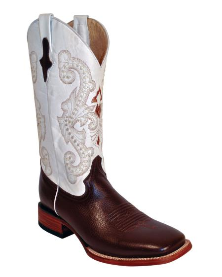 MensUSA.com Ferrini Mens Cowhide Boot S Toe Chocolate White(Exchange only policy) at Sears.com
