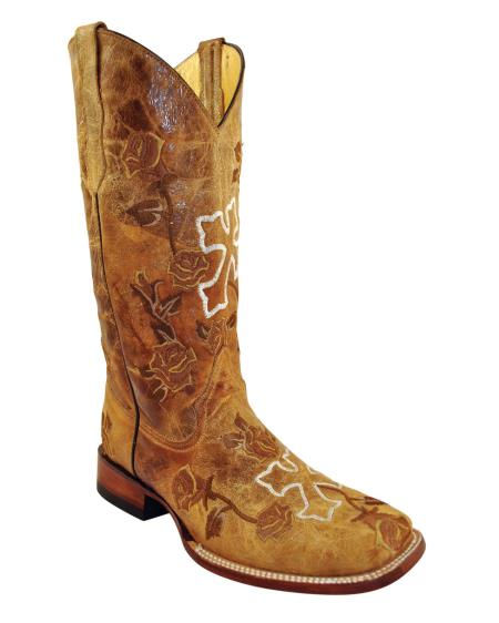 MensUSA.com Ferrini Womens Distressed Floral Cross S Toe Boot Antique Saddle(Exchange only policy) at Sears.com