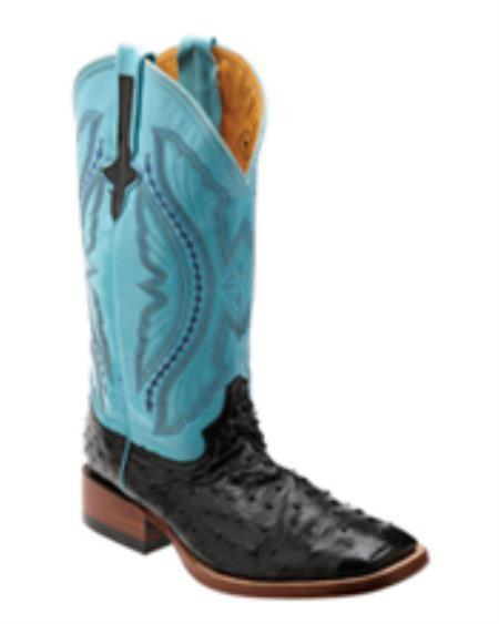 MensUSA.com Ferrini Mens Full Quill Ostrich S Toe Boot Black Turquoise(Exchange only policy) at Sears.com