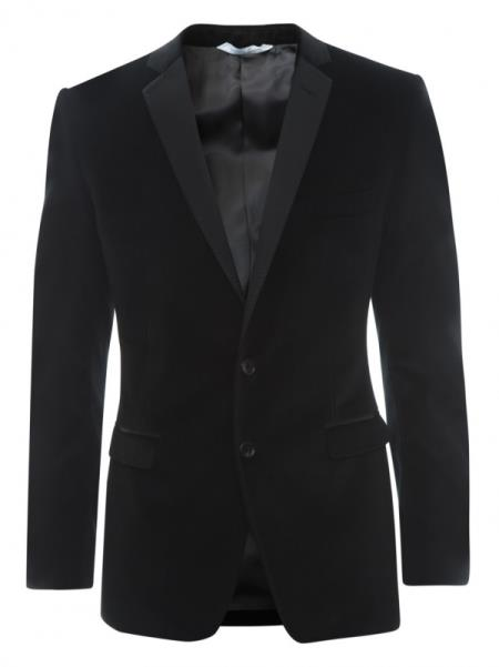 SKU#HE7V Black Velvet~Velour 2 Button Tuxedo Jacket & Blazer $399