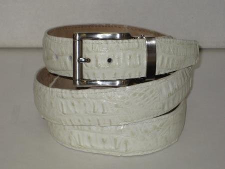 SKU#PD7D Mens Genuine Authentic Cream ~ Ivory ~ Off White Crocodile ~ alligator Belt