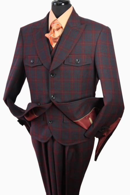MensUSA Mens 3PC Fashion Suit Burgundy Check at Sears.com