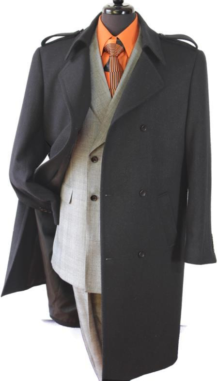 MensUSA.com Mens 100 Wool 43 Long Coat Charcoal(Exchange only policy) at Sears.com