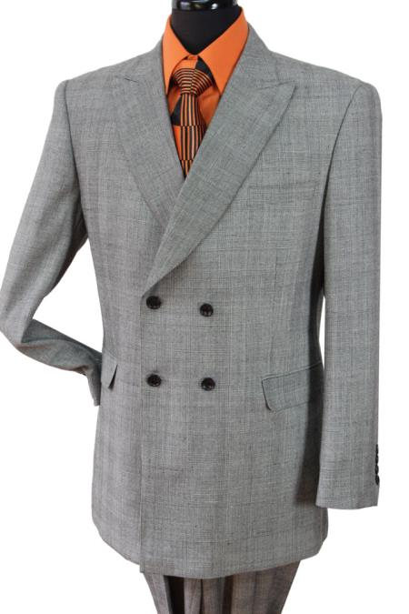 SKU#KT765 Mens 4 button Double Breasted Super 150's, 100% Wool Suit Grey Plaid $139