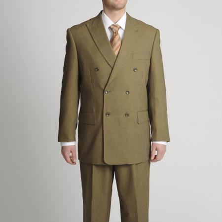 MensUSA.com Mens Double Breasted Toast Mini Check Suit Toast(Exchange only policy) at Sears.com