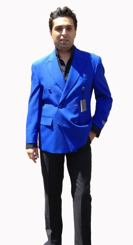 SKU#UO4LP Mens Double Breasted Suit - Royal Blue $175
