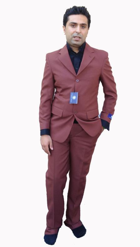 SKU#5GG2 Mens 3 Button Cheap Suit Rust~Cognac $125