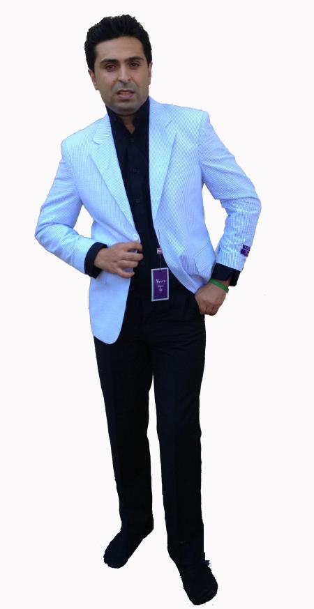 SKU#R3FF Two-Button Blue Seersucker Sport Coat, Jacket, Blazer $139