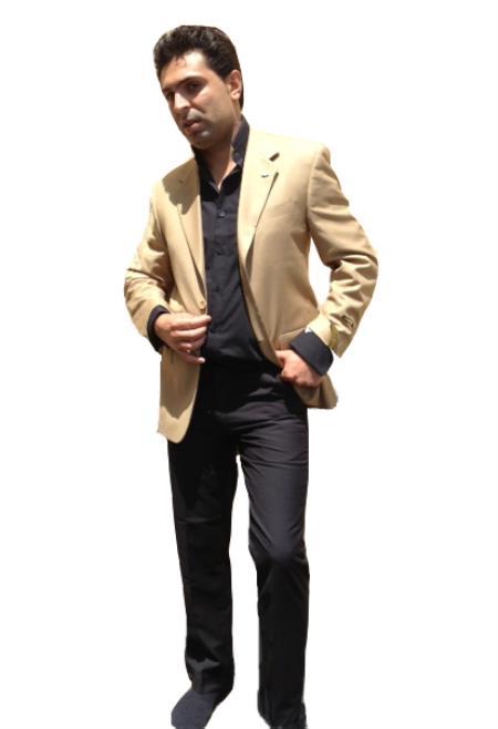 SKU#K85H Mens Two Button Blazer Camel ~ Khaki Bronze