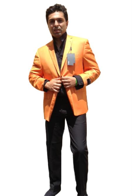 SKU#6JBD Mens Two Button Blazer Peach / Orange