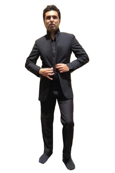 "SKU#2XXG Black ""Mirage"" Mandarin Nehru Tuxedo Dinner Jacket Wedding Prom Coat Blazer (No Pants) $149"