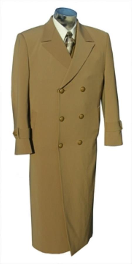 "SKU#YK8934 Mens 6 Button Double Breasted 50"" Long Top Coat Camel $175"