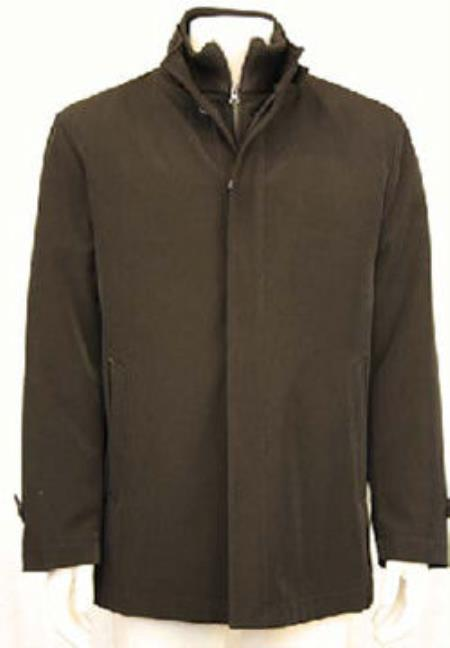 MensUSA.com Mens Shorter Water Repellent Raincoat with Leather Trim Black(Exchange only policy) at Sears.com