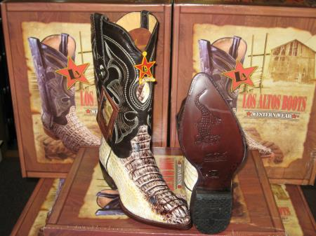 SKU#7BB2 Los Altos Natural Genuine Crocodile Western Cowboy Boot (D) $389