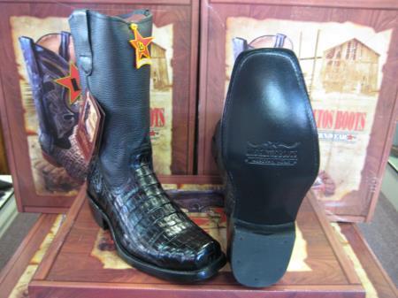 SKU#6UB3 Los Altos Black caiman ~ alligator Belly Western Cowboy Biker Motorcycle Boot (EE)