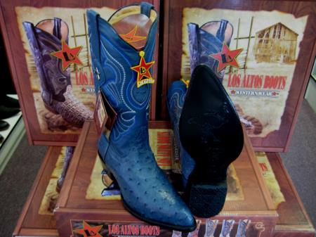 SKU#6HHH Los Altos Jean Blue Genuine Full Quill Ostrich Western Cowboy Boot (EE)