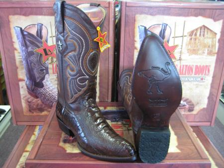 SKU#7TA3 Los Altos Brown Genuine Ostrich Leg Western Cowboy Boot (EE)