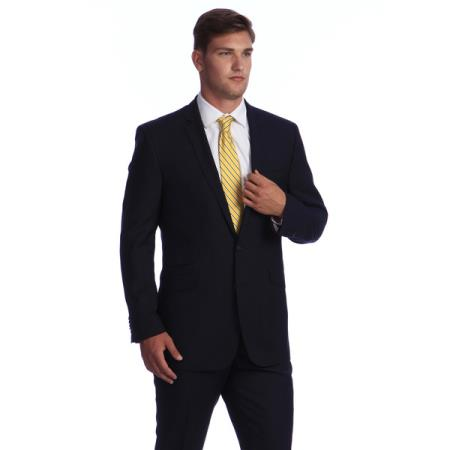 SKU#M069-08 Men's Navy Blue Bone Stripe ~ Pinstripe 2-button Wool affordable suit online sale
