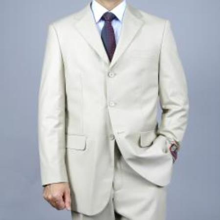 SKU#M069-08 Mens Solid Bone 3-Button affordable suit online sale $139