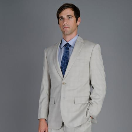 SKU#M069-08 Mens Bone Windowpane 2-Button Suit $139