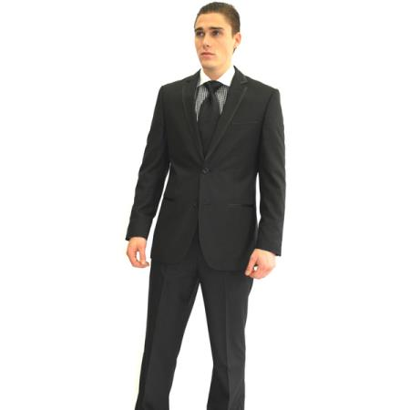 SKU#GR4529 Mens Slim Fit Black 2-button Tuxedo Suit $165