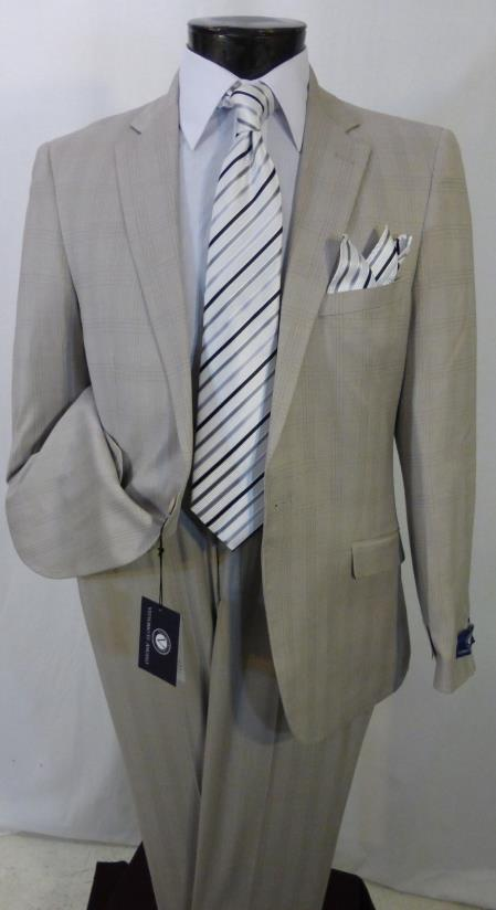 SKU#KR548 New Mens Slim Fit 1 Button Beige Glen Plaid Suit Flat Front Pants $99