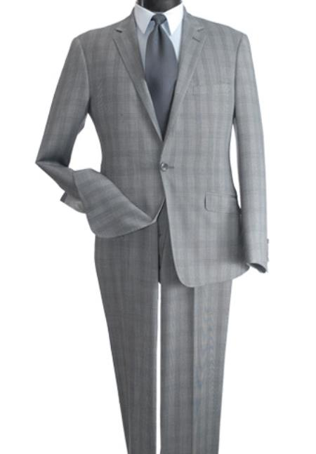 SKU#JR674 Mens 2 Piece Wool Feel Slim Suit - Single Vent Silver $99