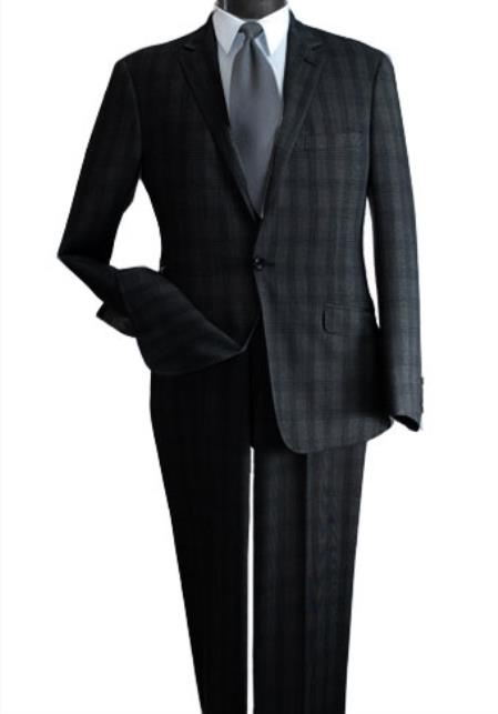 SKU#UH786 Mens 2 Piece Wool Feel Slim Suit - Single Vent Black $99