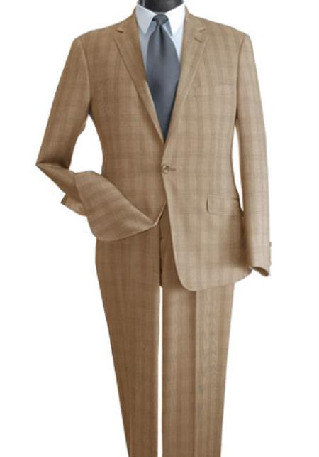 SKU#PL567 Mens 2 Piece Wool Feel Slim Suit - Single Vent Beige $125