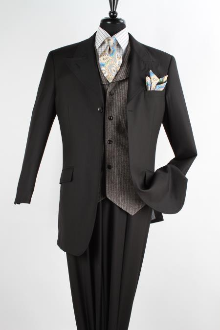SKU#GB783 Mens 3 Piece 100% Wool Fashion Suit - 1 Button Black $149