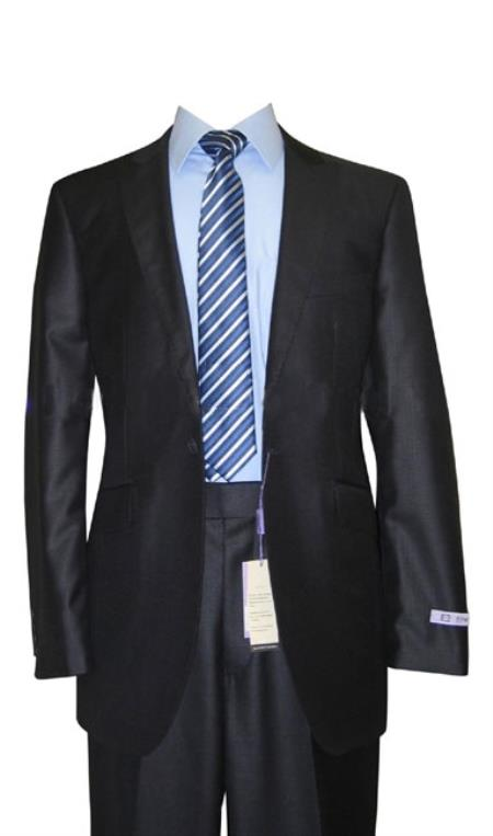 SKU#JR25 1 Button Peak Lapel Navy Sharkskin Wool & Silk Blend Flat Front Fitted Suit