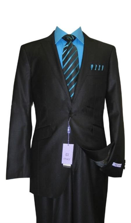 SKU#NH34 1 Button Peak Lapel Black Sharkskin Wool and Silk Blend Flat Front Fitted Suit