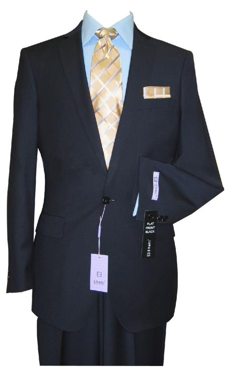 SKU#KR70 1 Button Tapered Cut Center Vented Wool Blend Flat Front Suit $199