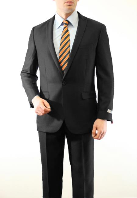 SKU#PGB785 Mens 1 Button Front Closure Slim Fit Peak Lapel tone on tone Herringbone Tweed Shadow Patterned Suit Black